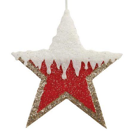 Κρεμαστό αστέρι με glitter κόκκινο - χρυσό - λευκό, 40cm