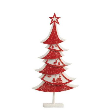 Διακοσμητικό Χριστουγεννιάτικο δέντρο με glitter Κόκκινο - Λευκό 45x10x90cm