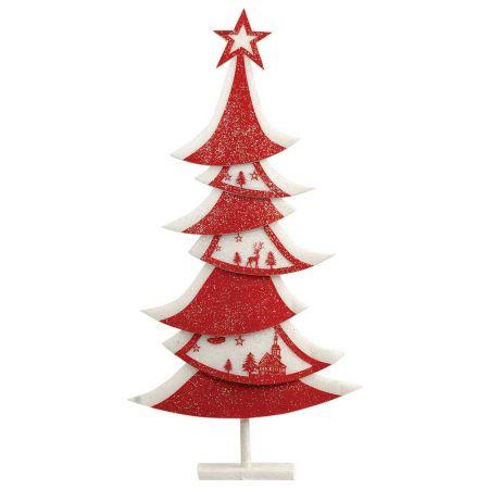 Διακοσμητικό Χριστουγεννιάτικο δέντρο με glitter Κόκκινο - Λευκό 60x11x120cm