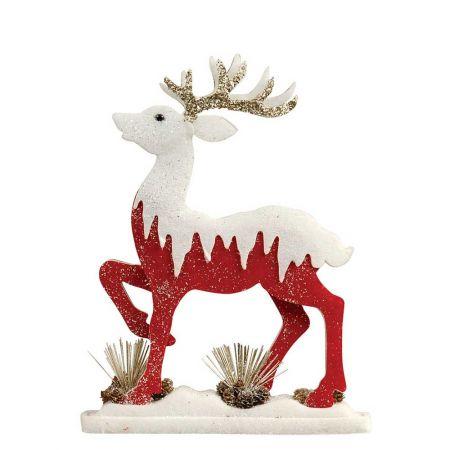 Διακοσμητικός τάρανδος με glitter κόκκινο-λευκό, 43x8x56cm