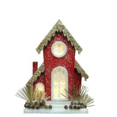 Διακοσμητικό ξύλινο σπιτάκι με LED Φωτισμό και glitter 38x11x56cm