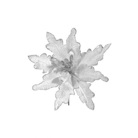 Λουλούδι Χριστουγέννων Ασημί 25cm