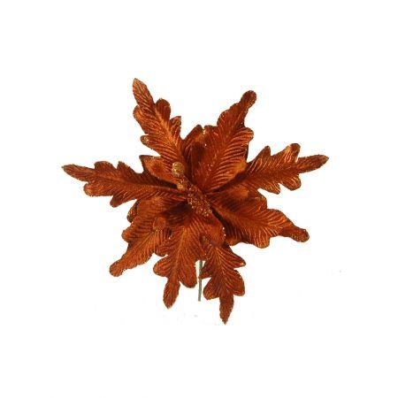 Διακοσμητικό Λουλούδι Χριστουγέννων χάλκινο 25cm