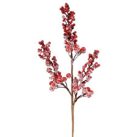 Χριστουγεννιάτικο κλαδί Berries - Γκι χιονισμένο Κόκκινο 15x40cm