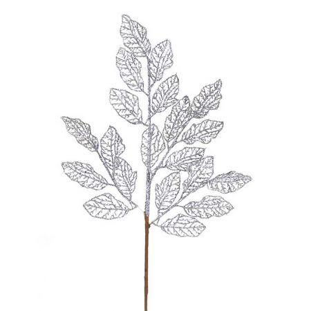 Χριστουγεννιάτικο κλαδί - φύλλα με glitter Ασημί 66x29cm