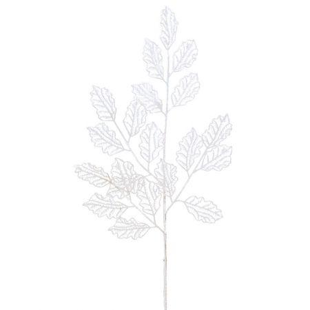 Χριστουγεννιάτικο κλαδί - φύλλα με glitter Λευκό 66x29cm