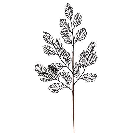 Χριστουγεννιάτικο κλαδί - φύλλα με glitter Μαύρο 66x29cm