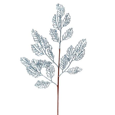 Χριστουγεννιάτικο κλαδί - φύλλα με glitter γαλάζιο 66x29cm