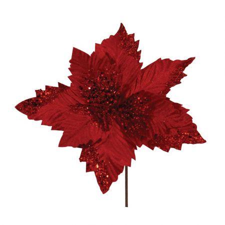 Χριστουγεννιάτικο Αλεξανδρινό άνθος Κόκκινο 29cm