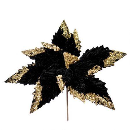 Χριστουγεννιάτικο Αλεξανδρινό άνθος Μαύρο - Χρυσό 35cm