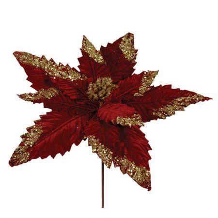 Χριστουγεννιάτικο Αλεξανδρινό άνθος Κόκκινο - Χρυσό 35cm