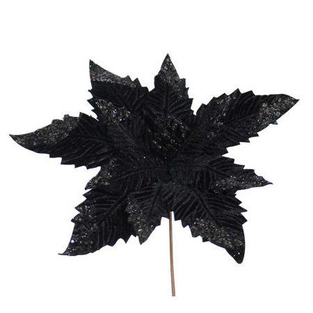 Χριστουγεννιάτικο Αλεξανδρινό άνθος Μαύρο 35cm