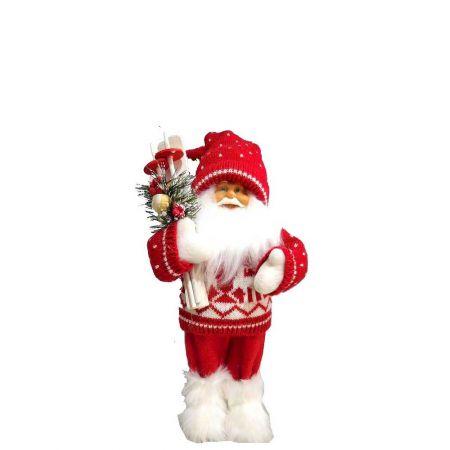 Διακοσμητικός, Χριστουγεννιάτικος Άγιος Βασίλης, όρθιος, λούτρινος που κρατάει σκι.