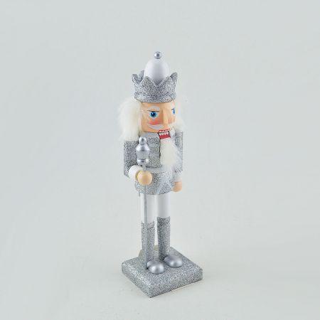 Ξύλινος καρυοθραύστης με σκήπτρο Λευκός - Ασημί 25cm