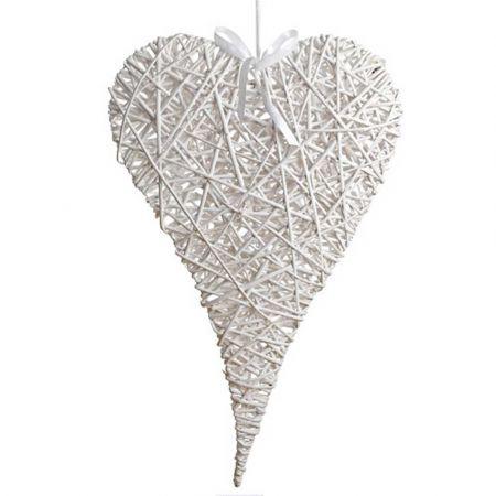 Διακοσμητική κρεμαστή καρδιά bamboo Λευκή 60x100cm
