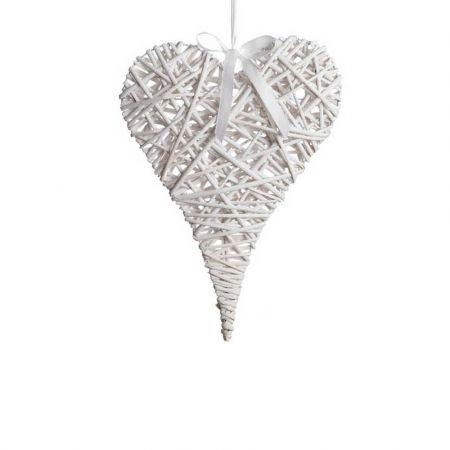 Διακοσμητική κρεμαστή καρδιά bamboo Λευκή 35x50cm