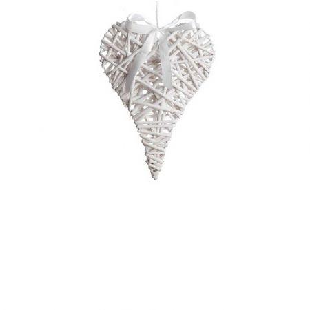 Διακοσμητική κρεμαστή καρδιά bamboo Λευκή 24x35cm