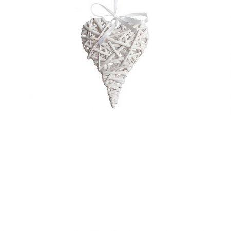Διακοσμητική κρεμαστή καρδιά bamboo Λευκή 14x20cm