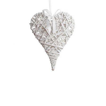 Διακοσμητική κρεμαστή καρδιά bamboo Λευκή 30x40cm
