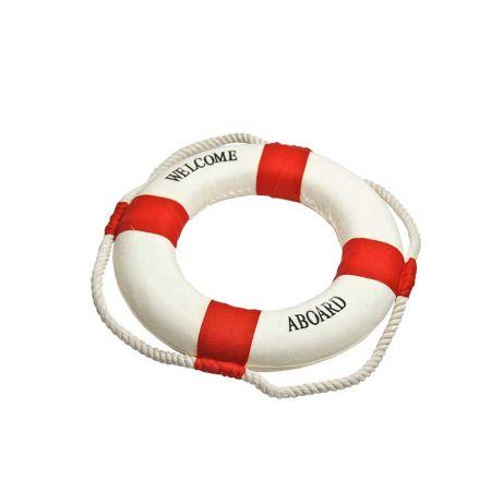 Διακοσμητικό σωσίβιο καραβιού WELCOME ABOARD Λευκό - Κόκκινο 14cm