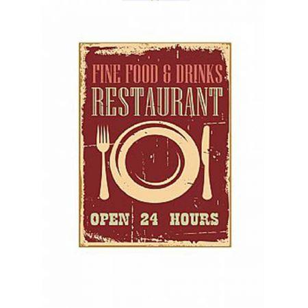 Διακοσμητικός vintage πίνακας Restaurant 46x34x2cm