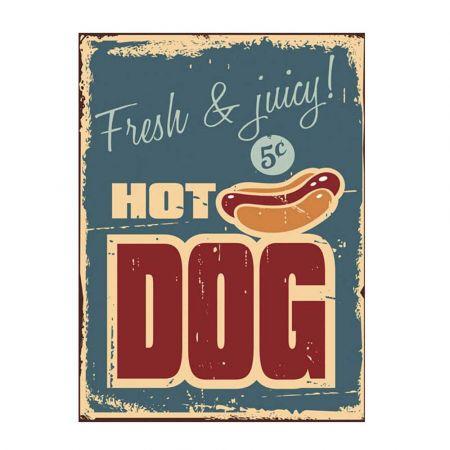 Διακοσμητικός vintage πίνακας Hot Dog 34x46x2cm