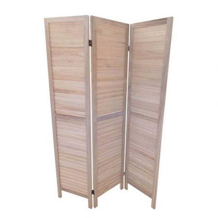 Διακοσμητικό Ξύλινο Παραβάν με γρίλιες Φυσικό ξύλο 120x170cm