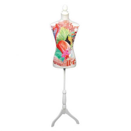 Διακοσμητικό γυναικείο μπούστο με τουκάν και φλαμίνγκο 24x37,5x168cm