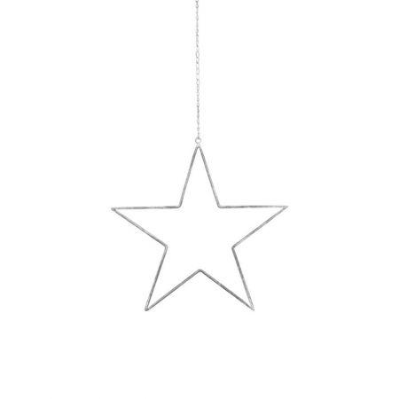 Μεταλλικό κρεμαστό αστέρι με αλυσίδα Γκρι παλαιωμένο 40cm