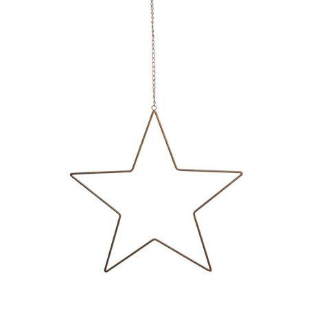 Μεταλλικό κρεμαστό αστέρι με αλυσίδα με όψη σκουριάς 50cm
