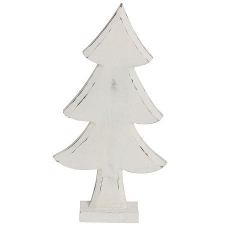 Διακοσμητικό επιτραπέζιο δεντράκι ξύλινο Λευκό 48cm