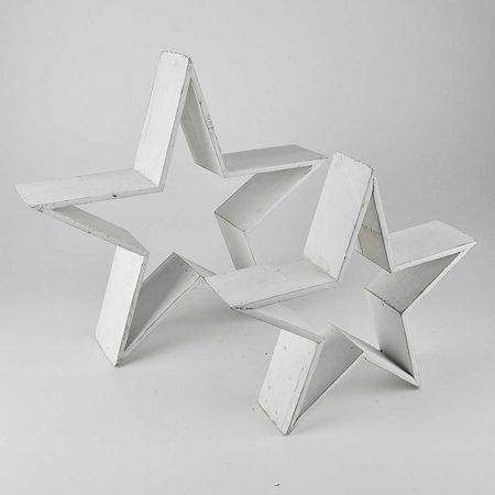 Σετ 2τχ επιδαπέδια αστέρια ξύλινα, Λευκά σε 2 διαστάσεις 30cm, 40cm