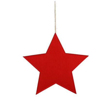 Διακοσμητικό κρεμαστό αστέρι τσόχα Κόκκινο 51cm