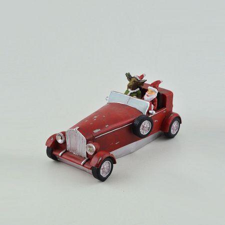 Διακοσμητικό Χριστουγεννιάτικο αμαξάκι επιτραπέζιο κατασκευασμένο από μέταλλο με φωτισμό LED. 18,5x9x8cm