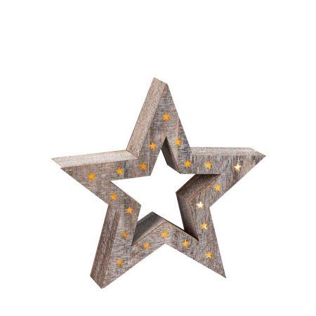 Διακοσμητικό φωτιζόμενο αστέρι ξύλινο 36cm