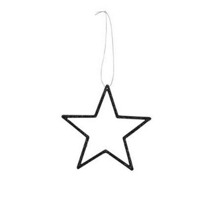 Διακοσμητικό κρεμαστό αστέρι PVC Μαύρο 18cm