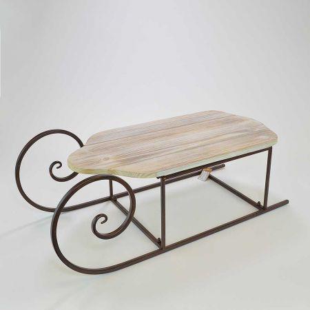 Διακοσμητικό έλκηθρο μεταλλικό με ξύλινο κάθισμα 70x30x25cm