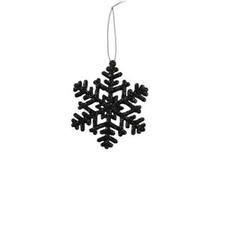 Κρεμαστή χιονονιφάδα Μαύρη με glitter 10cm
