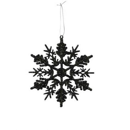 Κρεμαστή χιονονιφάδα Μαύρη με glitter 15cm