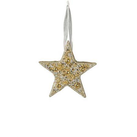 Κρεμαστό στολίδι αστέρι με χάντρες Χρυσό - Ασημί 16cm