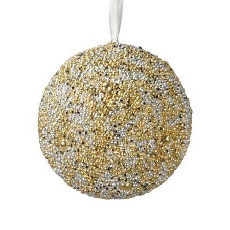 Χριστουγεννιάτικη μπάλα δέντρου  με χάντρες Χρυσό - Ασημί 10cm