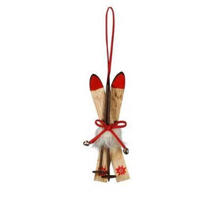 Ξύλινο στολίδι Χριστουγεννιάτικου δέντρου - Σκι 5x4x12cm
