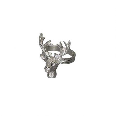Δαχτυλίδι πετσέτας - Τάρανδος - Ασημί 5x5,5x6,5cm