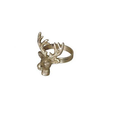 Δαχτυλίδι πετσέτας - Τάρανδος - Χρυσό 5x5,5x6,5cm