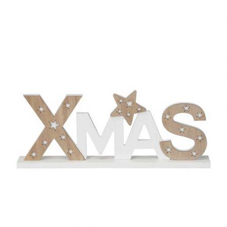 Επιτραπέζιο διακοσμητικό - XMAS - Φυσικό ξύλο - Λευκό 39,5x4x15,5cm
