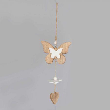 Διακοσμητικό κρεμαστό στολίδι Πεταλούδα - Καρδιά 35cm