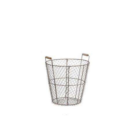 Διακοσμητικό μεταλλικό καλάθι με ξύλινα χερούλια 30x33cm