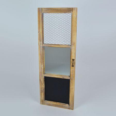 Διακοσμητικό παντζούρι ξύλινο με καθρέπτη και μαυροπίνακα Φυσικό 97x35cm