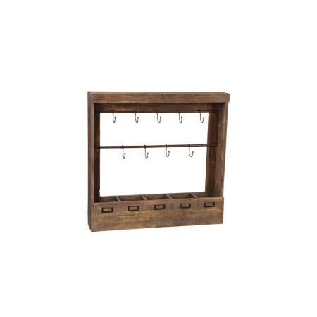 Διακοσμητικό Σταντ - Ραφιέρα Τοίχου με Γαντζάκια 73x13.5x71cm