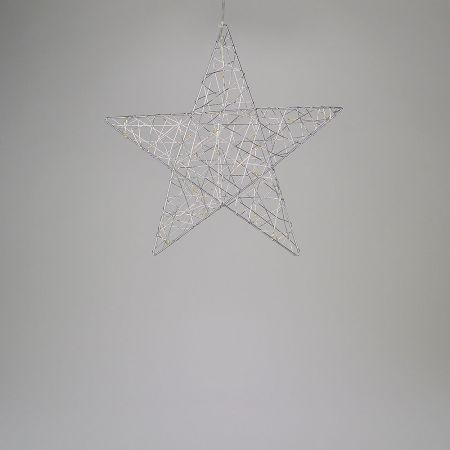Φωτιζόμενο αστέρι 20microLED μπαταρίας με χρονοδιακόπτη Ασημί / Θερμό Λευκό 30cm